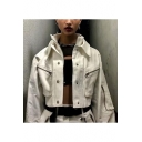 Cool Stand Collar Panel Single Breasted Zip Chest Pockets Cropped Bomber Jacket