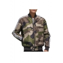 New Arrival Popular Camouflage Print Zip Closure Stand Collar Long Sleeve Bomber Jacket