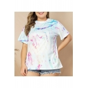 Summer New Arrival Round Neck Short Sleeve Tie Dye Prinit Casual Plus Size White T-Shirt