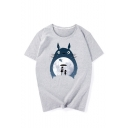 Summer Funny Comic Character Print Round Neck Short Sleeves Unisex Cotton Tee