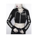 New Fashion Black ROCKMORE Letter Printed Long Sleeve Zip Up Cropped Hoodie With Pockets