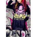 Popular Letter Octopus Printed Long Sleeve Black Long Pullover Sweatshirt