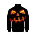 Funny Halloween Pumpkin Pattern Rib Stand Collar Long Sleeve Black Baseball Jacket For Men