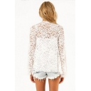 Summer Flower Print Long Sleeve Translucent Lace Open Front White Coat