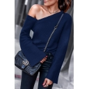 Women's Hot Fashion Long Sleeve One Shoulder Simple Plain Knitwear T-Shirt