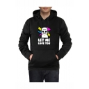 Popular DJ LET ME LOVE YOU Letter Printed Long Sleeve Black Casual Pullover Hoodie with Pocket