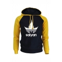 Mens Popular Fashion Letter Printed Colorblock Long Sleeve Casual Drawstring Hoodie