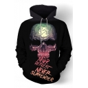 Letter NEVER RETREAT NEVER SURRENDER Cool Skull 3D Printed Long Sleeve Black Casual Loose Hoodie