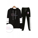 Trendy Cool Letters SPEAK YOURSELF Print Patterns Long Sleeve Loose Hoodie with Sweat pants Sport Two Piece Set