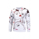New Fashion Figure Red Lips Girl Printed White Long Sleeve Round Neck Pullover Sweatshirts
