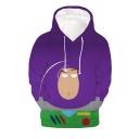 Hot Popular Toy Story Cartoon Character 3D Printed Purple Long Sleeve Loose Pullover Hoodie