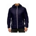 Men's Classic Simple Plain Zip Closure Long Sleeve Pockets Hooded Padded Coat