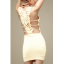 Sexy Scoop Neck Sleeveless Plain Guipure Lace Mini Bodycon Dress