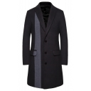 Men's New Fashion Colorblock Print Notched Lapel Collar Long Sleeve Single Breasted Peacoat