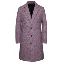 Men's New Fashion Print Notched Lapel Collar Long Sleeve Single Breasted Casual Peacoat