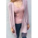 Ladies Popular Plain Long Sleeve Cardigan Knitwear with Pockets