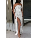 Summer Hot Fashion Strapless Sleeveless Sequined Split Front Wrap Enevning Dress