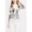 Ladies Cute Cat and Bike Cartoon Graffiti Print Round Neck Drop Sleeve Sweater