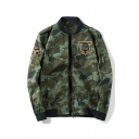 New Arrival Popular Camouflage Print Stand Collar Long Sleeve Casual Bomber Jacket
