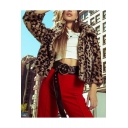 Fashionable Lapel Collar Zipper Leopard Printed Cropped Plush Coat Jacket