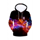 Hot Popular Kpop Boy Group BTS Logo Fire 3D Printed Long Sleeve Unisex Drawstring Hoodie