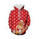 New Stylish Christmas Snowflake Sexy Girl 3D Printed Long Sleeve Red Loose Hoodie