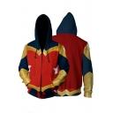 Hot Trendy Cosplay Costume Red Long Sleeve Drawstring Zip Up Hoodie
