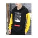 Trendy Letter LET'S GET LOST Stripe Planet Printed Colorblock Long Sleeve Casual Pullover Hoodie