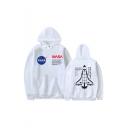 Hot Trendy NASA Letter Rocket Printed Long Sleeve Unisex Sports Pullover Hoodie