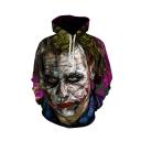 Hot Fashion Joker 3D Printed Drawstring Hooded Long Sleeve Purple Loose Hoodie