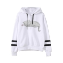 Lovely Cat Print Stripe Long Sleeve Loose Casual White Hoodie
