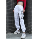 New Trendy TOUCH THE FUTURE Letter Elastic High Waist Cuffed Loose Hip-Hop Casual Pants