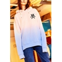 Womens Kpop Boy Group Letter Logo Print Ombre Color Long Sleeve Oversized Hoodie