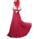 Moslem Round Neck Long Sleeve Lace Panelled Pleated A-Line Maxi Dress