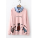 Cute Cartoon Night Owl Printed Patched Lapel Collar Cotton Loose Sweatshirt