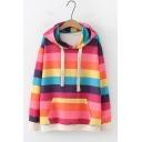 Trendy Rainbow Stripe Printed Long Sleeve Loose Leisure Hoodie