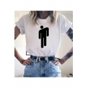 New Popular Singer Figure Printed Short Sleeve Round Neck White T-Shirt