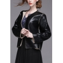 Black Round Neck Open Front Shearling Overlay PU Leather Short Jacket