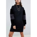 Womens Round Neck Long Sleeve Feather-Trimmed Black Sheath Midi Dress