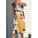Womens New Trend V-Neck Sleeveless Hip-Hop Graffiti Print Midi Shift T-Shirt Dress
