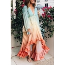 Womens New Trend V-Neck Long Sleeve Dyed Button Up Tassel Ruffles High Low A-Line Maxi Dress