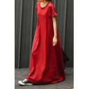 Womens Round Neck Short Sleeve Pockets Red Swing T-Shirt Floor Length Maxi Dress