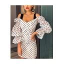 Womens Sexy V-Neck Ruffle Sleeves Polka Dot White Cami Bodycon Mini Dress