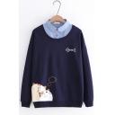 Cute Cat And Fish Print Long Sleeve Patchwork Lapel Two-Piece Button decoration Front Casual Sweatshirt