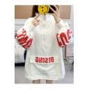 New Trendy Letter Printed Pocket Half-Zip Stand Collar Long Sleeve Oversized Sweatshirt