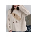Chic Bread BPFAO Letter Embroidered Round Neck Long Sleeve Apricot Loose Sweatshirt