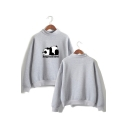 Cute Cartoon Panda Hungry And Tired Letter Printed Mock Neck Long Sleeve Pullover Sweatshirt