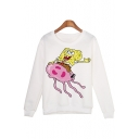 Cartoon Printed Round Neck Long Sleeve White Pullover Sweatshirt