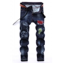 Men's Popular Fashion Contrast Patched Pleated Detail Dark Blue Regular Fit Frayed Ripped Jeans