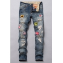 Guys New Fashion Letter Badge Patched Vintage Blue Denim Washed Trendy Frayed Ripped Jeans